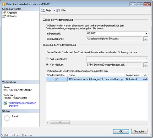 Wiederherstellen einer Datenbank im SQL Server 2008