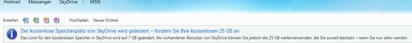 kostenloser Speicherplatz für registrierte SkyDrive Benutzer