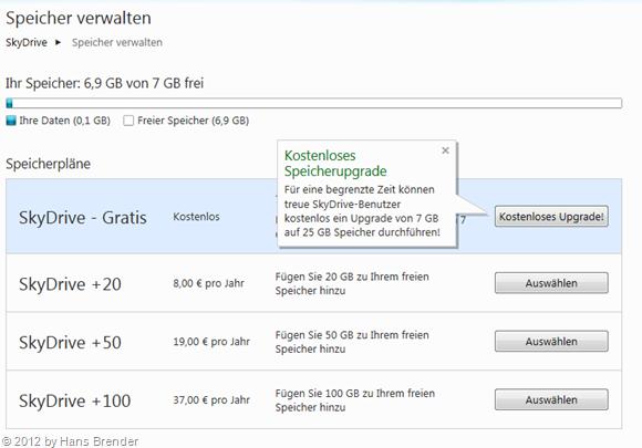 Zukauf Optionen für mehr Speicherplatz auf SkyDrive