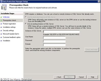 SC 2012 DPM: Remot SQL Server