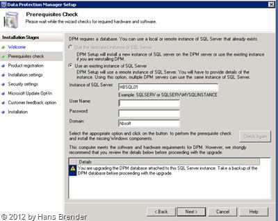 SC 2012 DPM: Fehlermeldung: SQLPrepInstaller nicht auf dem Remote SQL Server installiert.