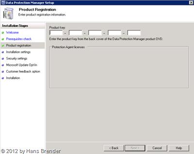 SC 2012 DPM: Eingabe Lizenzschlüssel