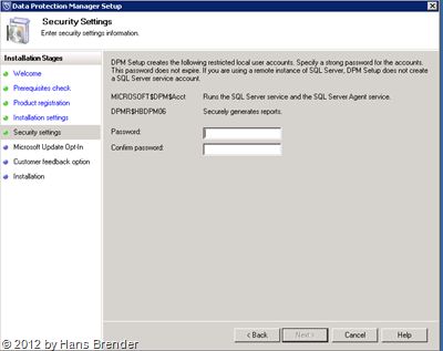 SC 2012 DPM: Passwort Eingabe
