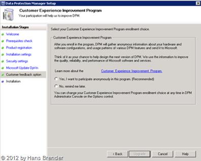 SC 2012 DPM: Microsoft customer experience program