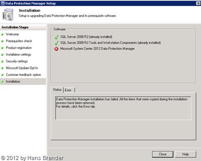 SC 2012 DPM: Zugriff auf den SQL Server
