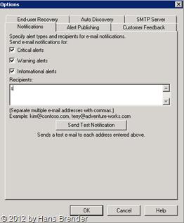 SC 20120 DPM Administrator Console: Optionen