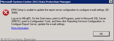 SC 20120 DPM Administrator Console: Optionen-Fehlermeldung