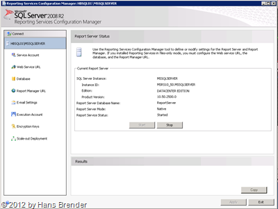 Reporting Services Configuration Manager des SQL Server 2008 R2