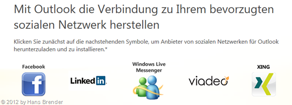 Outlook Connector zu sozialen Netzwerken