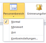 Outlook 2010: Ansicht: Personenbereich