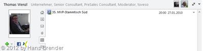 gefilterte Anzeige von Nachrichten einer  ausgewählten Person im Personenbereich von Outlook 2010