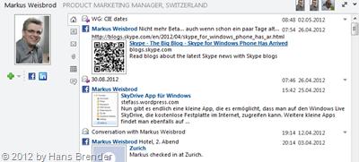 ungefilterte Anzeige von Nachrichten einer  ausgewählten Person im Personenbereich von Outlook 2010