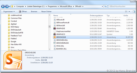 Sharepoint Workspace 2010, Groove.exe