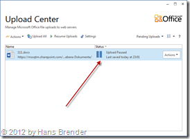 Upload Anzeige im Microsoft Office Upload Center