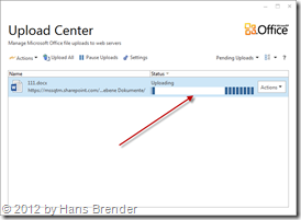 Upload findet statt im Microsoft Office Upload Center