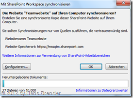 Sync, SharePoint Workspace, Dialog