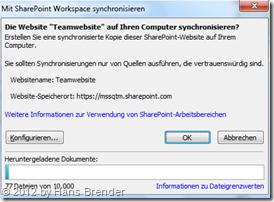 Sync, SharePoint Workspace, Dialog