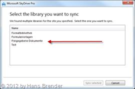 SkyDrive Pro: Auswahl der Bibliothek