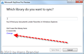 SkyDrive Pro: Änderung des Speicherort