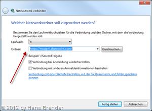 URL des SharePoint Servers eintragen