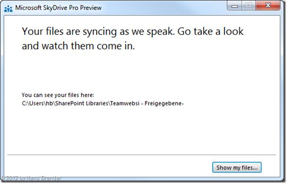 SharePoint Server, SkyDrive Pro, Die Metadaten wurden übertragen