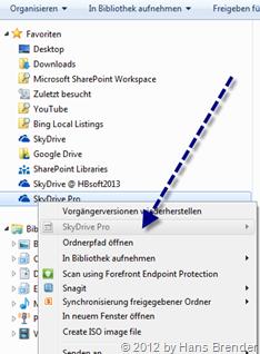Kontext Menü, SkyDrive Pro