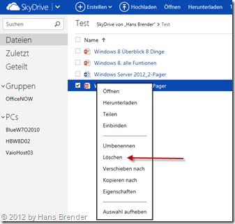 Löschen, Dateine, SkyDrive