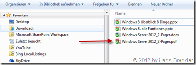 Anzeige, Windows Explorer, SkyDrive