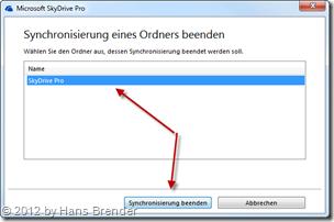 SkyDrive Pro: Beenden einer Bibliothekensychronisation mit SharePoint Server 2013