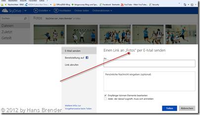 Sprung zum Teilen im Web-Browser  auf SkyDrive