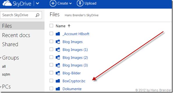 angelegter verschlüsselter Ordner unter SkyDrive.com