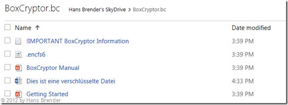 angelegter verschlüsselte Dateien unter SkyDrive.com
