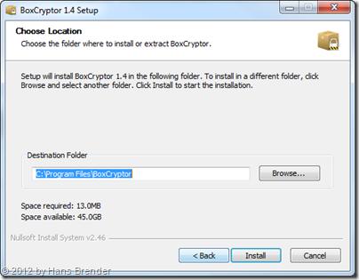 Installation von BoxCryptor auf einem Windows 7 Rechner