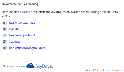 SkyDrive, Freigabe, Outlook
