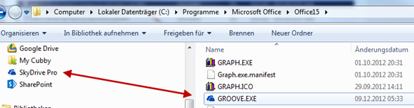 SkyDrive Pro und Groove.exe