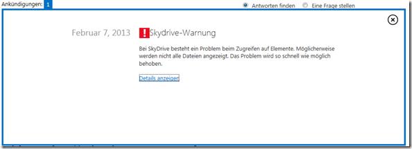 SkyDrive Warnung, SkyDrive, Dienststatus, Servicestatus