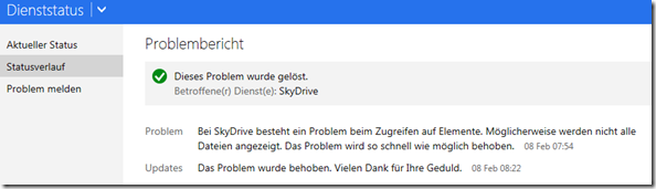 SkyDrive Problembericht