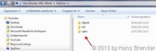 Für 3 SkyDrive Konten wurde 3 Ordner angelegt
