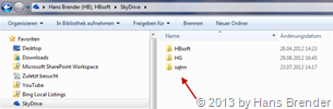 3 folders for 3 SkyDrive accounts