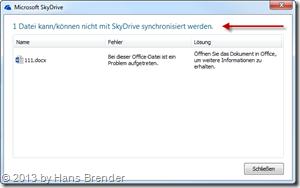SkyDrive Anzeige mit fehlerhaft synchronisierter Datei