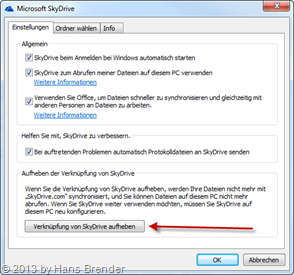 configuration of SkyDrive
