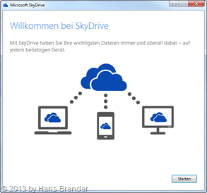 welcome screen of SkyDrive