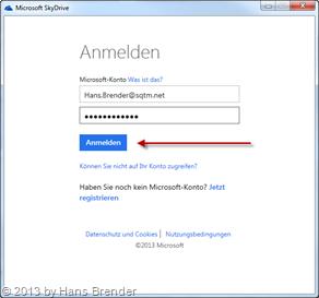 Anmeldedialog Microsoft Konto in SkyDrive