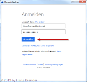 SkyDrive credentials dialog