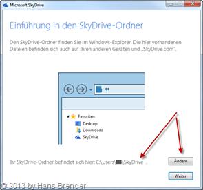 Dialog zum Ändern des Datenpfades in SkyDrive