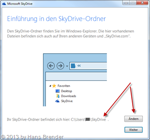 dialog to change of the path for the data in SkyDrive