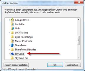Auswahl des Ordners für die SkyDrive Synchronisation