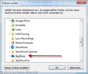 your choice of the synchronize folder for SkyDrive sync