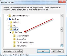 Anzeige des Speicherorts der SkyDrive Dateien