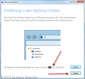 last screen for the folder choice in SkyDrive